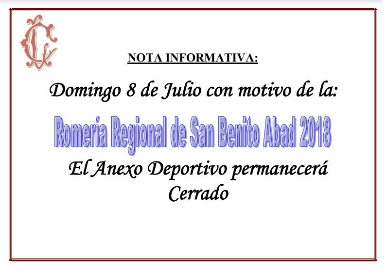 Nota Informativa Romería de San Benito Abada 2018