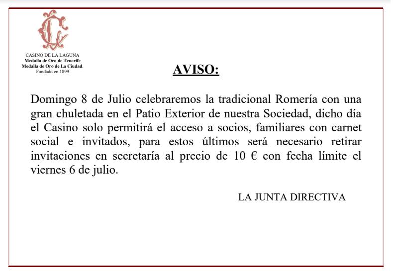 AVISO Acceso Casino de La Laguna 8 de Julio 2018